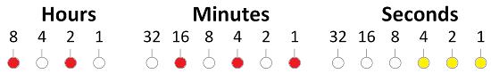 Arduino binary clock hours minutes seconds